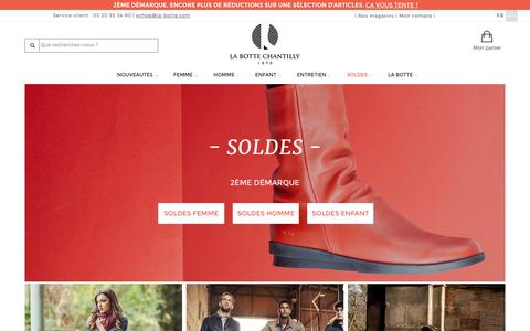 Screenshot of Home Page la-botte.com - Chaussures femme, homme et enfant - La Botte Chantilly chausseur depuis 1890 - captured Jan. 23, 2016