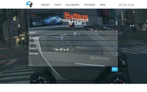 Screenshot of Press Page citytransformer.com - ct-transformer | press contact - captured Dec. 8, 2018