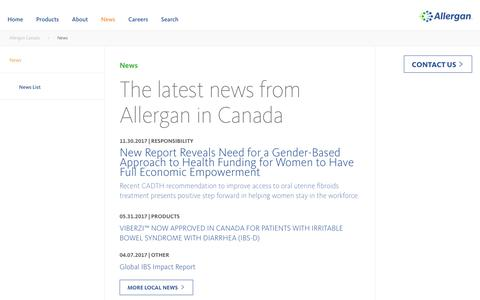 Screenshot of Press Page allergan.ca - News - Allergan - captured Feb. 16, 2018