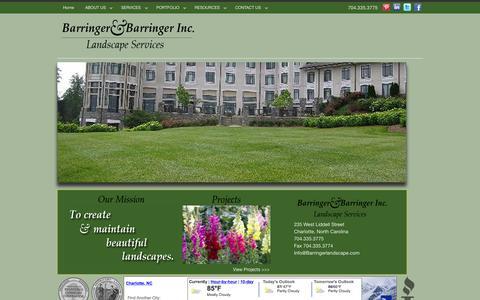 Screenshot of Home Page barringerlandscape.com - Home - Barringer & Barringer Landscape, Inc. - captured Sept. 10, 2015