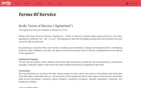 Screenshot of Terms Page surfly.com - Terms of Service - Surfly - captured Sept. 11, 2014