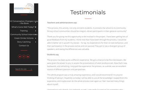 Screenshot of Testimonials Page conversationworks.ca - Testimonials – ConversationWorks - captured July 21, 2018