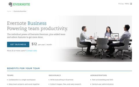 Screenshot of evernote.com - Evernote Business - Evernote for your company | Evernote - captured Sept. 30, 2015