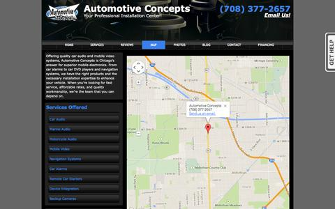 Screenshot of Maps & Directions Page il-biz.co - Automotive Concepts near Chicago IL - Map and Directions        	 - (708) 377-2657 - captured Oct. 4, 2014
