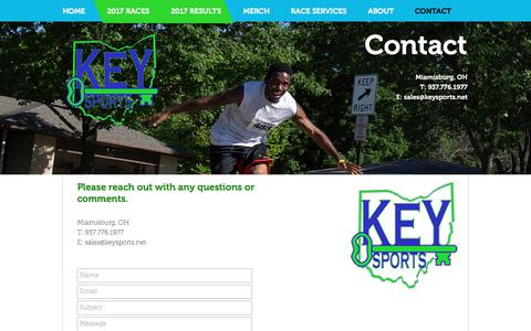Screenshot of Contact Page keysports.net - Key Sports | CONTACT US | Dayton, OH - captured June 9, 2017