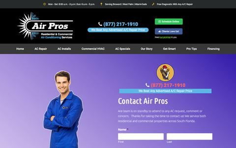 Screenshot of Contact Page flairpros.com - Contact | Reliable AC Repair, AC Install & AC Preventive Maintenance - captured Aug. 15, 2018