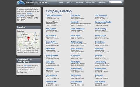 Screenshot of Contact Page laiweb.net - Contact Us - Contact Lighting Associates, Inc. - captured Oct. 2, 2014
