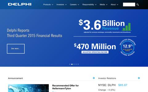 Screenshot of Home Page delphi.com - Delphi Automotive is a global supplier of vehicle technology. - captured Dec. 4, 2015