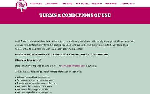 Screenshot of Terms Page allaboutfoodltd.com - Terms & Conditions of Use - All About Food - captured Nov. 6, 2018