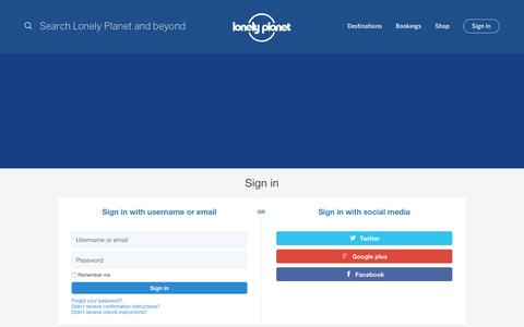 Screenshot of Login Page lonelyplanet.com - Lonely Planet Travel Guides and Travel Information - captured Aug. 19, 2016