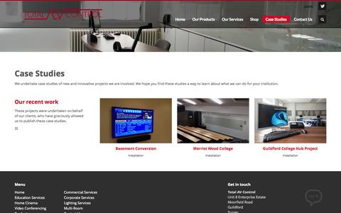 Screenshot of Case Studies Page totalavcontrol.co.uk - Total AV Control         | Case Studies - captured Oct. 7, 2014