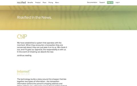 Screenshot of Press Page riskified.com - Press | Riskified - captured Sept. 12, 2014