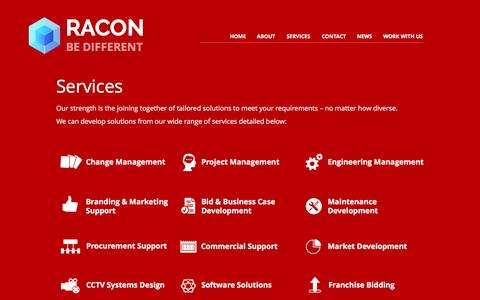 Screenshot of Services Page racon-ms.com - Rail & Transport Management Consultancy Glasgow Scotland UK | Racon - captured Dec. 2, 2016