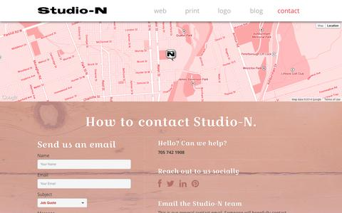Screenshot of Contact Page studio-n.ca - contact | Studio-N - Graphic and Web Design, Peterborough, Ontario - captured Oct. 9, 2014