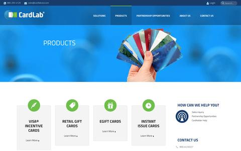 Screenshot of Products Page cardlabcorp.com - Corporate Gift Cards - captured Sept. 22, 2014
