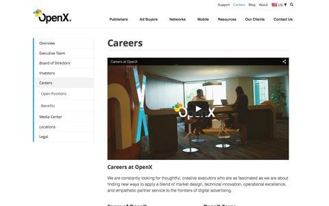 Screenshot of Jobs Page openx.com - Careers | OpenX - captured Jan. 13, 2016