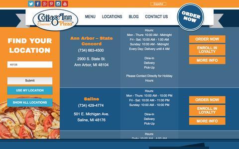 Screenshot of Locations Page cottageinn.com - Order Pizza, Subs, & Salads Online   Cottage Inn Pizza - captured June 23, 2017
