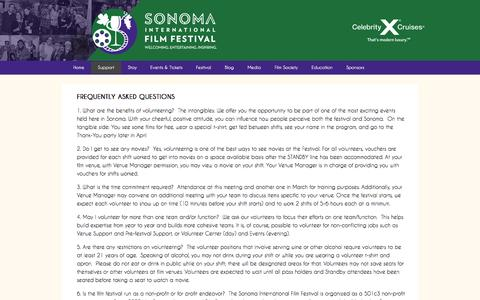 Screenshot of FAQ Page sonomafilmfest.org - Frequently Asked Questions - Sonoma International Film Festival - captured Oct. 6, 2014