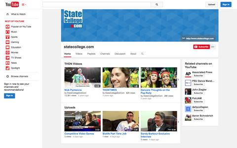 Screenshot of YouTube Page youtube.com - statecollege.com  - YouTube - captured Oct. 27, 2014