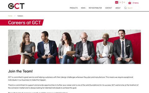 Screenshot of Jobs Page gct.co - Careers   GCT - captured Nov. 10, 2018