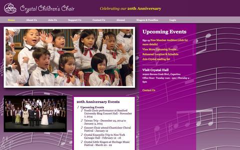 Screenshot of Home Page crystalchoir.org - Crystal Children's Choir - Home - captured Oct. 3, 2014