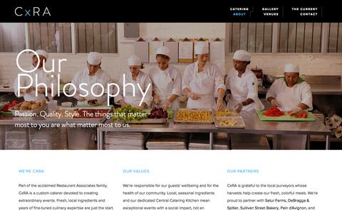 Screenshot of About Page cxra.com - About Our Local, Seasonal Food Sourcing & Service Practices | CxRA - captured Oct. 2, 2014