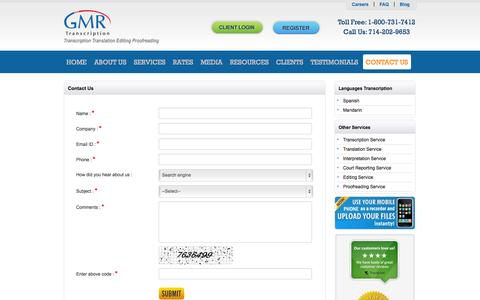 Screenshot of Contact Page gmrtranscription.com - Contact Us for Any Transcription Related Query - captured Sept. 22, 2014