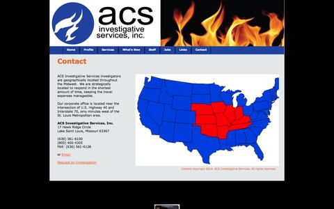 Screenshot of Contact Page firecause.com - Contact ACS Investigative Services - captured Oct. 4, 2014