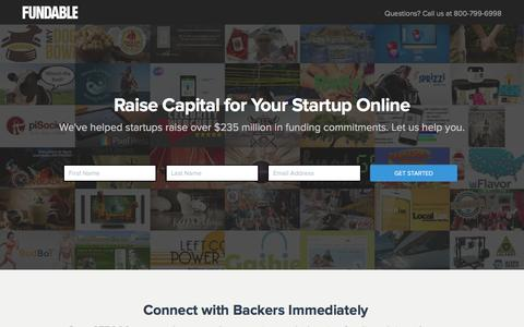 Screenshot of Landing Page fundable.com - Fundable | Crowdfunding for Small Businesses - captured March 7, 2016