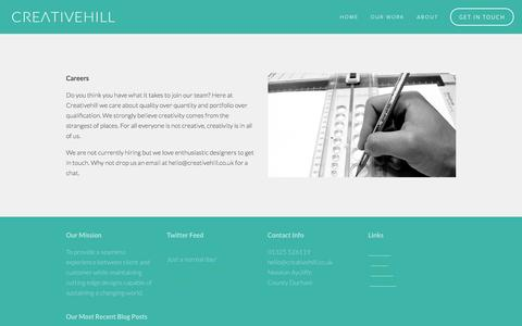 Screenshot of Jobs Page creativehill.co.uk - Careers — Creativehill - Graphic Design Studio - Photography - Newton Aycliffe - Darlington - North East - captured Sept. 30, 2014