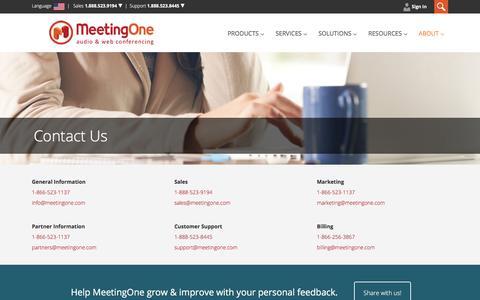 Screenshot of Contact Page meetingone.com - Contact MeetingOne - captured Sept. 20, 2018