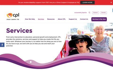Screenshot of Services Page cpl.org.au - Disability Support Services | CPL - Choice, Passion, Life - captured Sept. 26, 2018