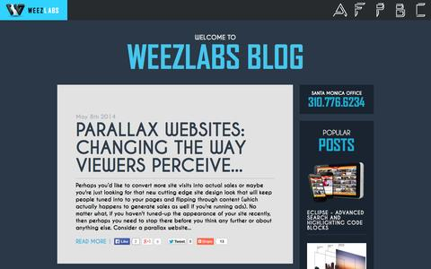 Screenshot of Blog weezlabs.com - Parallax Websites: Changing The Way Viewers Perceive Your Site & Value Your Business | WeezLabs Blog - captured Sept. 19, 2014