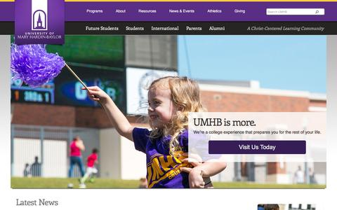 Screenshot of Home Page umhb.edu - Christian University, Christian College Scholarship, Nursing Degree - captured Dec. 8, 2015