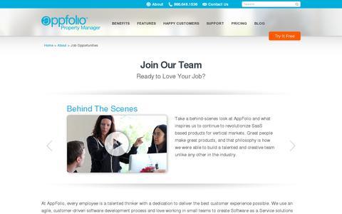 Screenshot of Jobs Page appfolio.com - AppFolio Job Opportunities | AppFolio.com - captured July 21, 2014