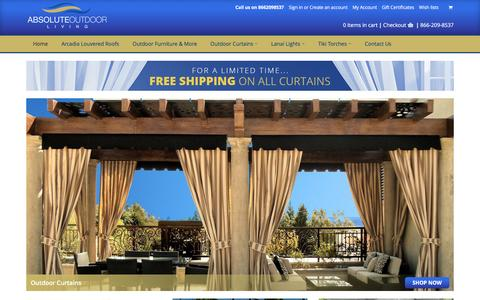 Screenshot of Home Page absoluteoutdoorliving.com - Outdoor Patio Curtains | LED Lanai Lighting | Outdoor Fireplaces - captured July 24, 2016