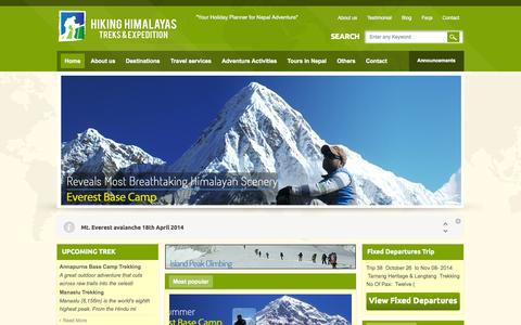 Screenshot of Home Page hikinghimalayas.com - Hiking Himalayas Treks and Expedition | Trekking in Nepal - captured Oct. 8, 2014