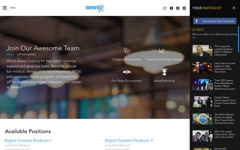 Screenshot of Jobs Page newsy.com - Join Our Awesome Team   Multisource Video News Analysis   Newsy - captured Dec. 3, 2015