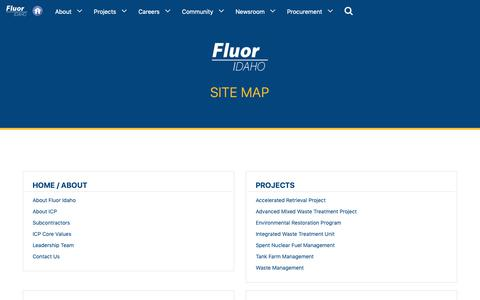 Screenshot of Site Map Page idahocleanupproject.com - SiteMap - Fluor Idaho - captured March 5, 2019