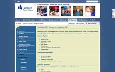 Screenshot of Services Page littletonpublicschools.net - Services - captured Oct. 30, 2014