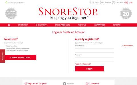 Screenshot of Login Page snorestop.com - Magento Commerce - captured Feb. 2, 2016