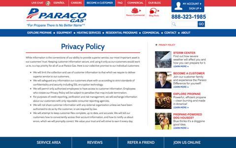 Screenshot of Privacy Page paracogas.com - Privacy Policy | Paraco Gas - captured July 14, 2017