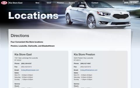 Screenshot of About Page Maps & Directions Page kiastoreeast.com - Kia Store East (888) 208-8387 | Directions ‰ŰŇ East Louisville Cars - captured Jan. 9, 2016