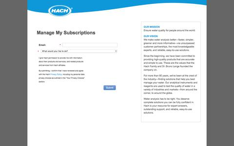 Screenshot of Landing Page hach.com - Manage My Subscription - captured Nov. 9, 2019