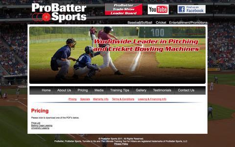 Screenshot of Pricing Page probatter.com - ProBatter Sports, LLC - captured Oct. 3, 2014