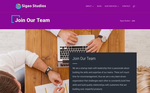 Screenshot of Signup Page sigaostudios.com - Join - Sigao Studios - captured July 8, 2018