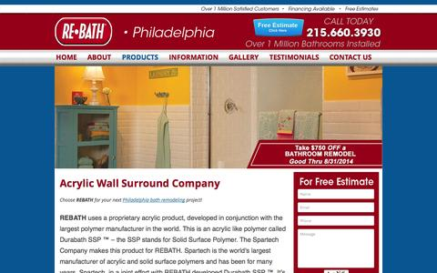 Screenshot of Products Page rebathphila.com - Acrylic Wall Bathroom | Acrylic Wall Surround Company | Philadelphia | Rebath Philadelphia - captured Oct. 7, 2014