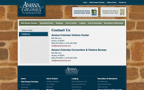 Screenshot of Contact Page amanacolonies.com - Contact Us | Visit the Amana Colonies | Amana Colonies in Iowa | The Handcrafted Escape - captured Oct. 4, 2014