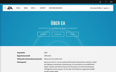 Screenshot of About Page ea.com - Über EA - captured Oct. 25, 2018