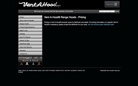 Screenshot of Pricing Page ventahood.com - Kitchen Range Vent Hoods, Ventilations - Pricing :: Vent-A-Hood® - captured Nov. 4, 2014